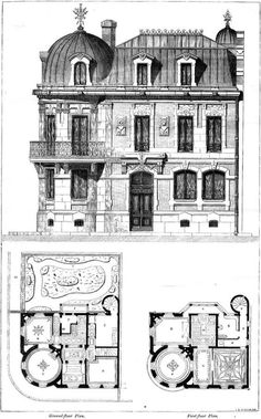 1860 – House of an Architect, Cite Malesherbes, Paris – Archiseek – Irish Architecture Architecture Design, Plans Architecture, Classic Architecture, Victorian Architecture, Architecture Drawings, Historical Architecture, Vintage House Plans, House Blueprints, Victorian Homes