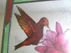 On Sale - Hummingbird with flower- stained glass window, glass painting, bird art