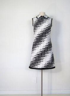 Mod 1960s Dress / Op Art Dress / 60s Dress / by SmallEarthVintage  R Originals