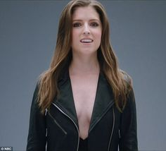 Taking the plunge!Anna Kendrick went bra-less beneath a motorcycle jacket for a pre-taped, group music video on Tuesday's episode of The Voice