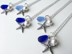 Brautjungfer Schmuck Starfish Halsketten von BostonSeaglass auf Etsy