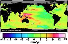 Sea level rise trend since 1993. Source University of Colorado.