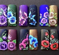 Uñas one stroke, one stroke nails, one stroke painting, nails & co, flo 3d Nail Art, Nail Polish Art, Trendy Nail Art, Nail Arts, Uñas One Stroke, One Stroke Nails, Fabulous Nails, Perfect Nails, Nail Art Designs