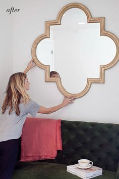 DIY Gold Leaf Mirror by Claire Zinnecker | Camille Styles | Supplies: Mirror Primer Krylon Premium Gold Foil Metallic spray paint Liquid Leaf 6110 Classic Gold or Rub /n Buff Gold Leaf Small paint brush Blue painters tape