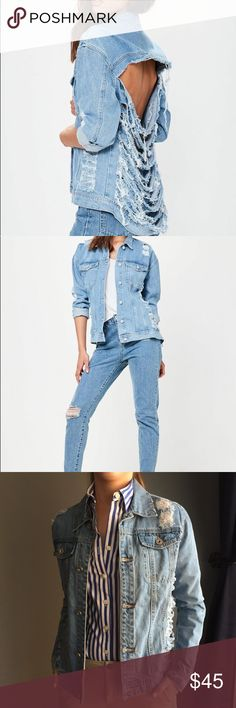 Missguided Shredded Back Denim Jacket - Size 2 Like-new Missguided Shredded Back Denim Jacket - Size 2 (US). Super fun way to play up the denim trend this Fall! Wear it sexy with a crop top or funk up your conservative style with a button down and khakis! Size 2 fits like a size XS. Missguided Jackets & Coats Jean Jackets