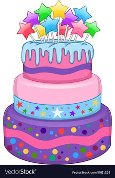 Buy Three Floors Cake with Stars by LironPeer on GraphicRiver. Vector illustration of 3 floors birthday cake with colorful stars on top. Birthday Cake Clip Art, Birthday Display, Birthday Clipart, Birthday Cards, Baby Set, Happy Birthday Wishes, Birthday Greetings, Cake Clipart, Cupcake Vector