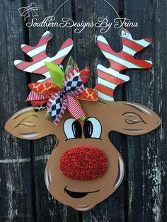 Excited to share the latest addition to my #etsy shop: Rudolph door hanger, Christmas door hanger, wooden door hanger