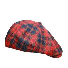 Red Scottish plaid newsboy cap for women winter wool flat caps ad1a6fbc20e1