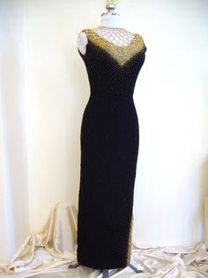 1950s COUTURE Gene Shelly Beaded CLEOPATRA Side Split Evening Cocktail Gown Dress #vintage