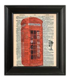 Distressed Red BRITISH Telephone Box Booth Mod Dictionary Art Print Illustration Upcycled Antique Vintage Book Page Art 8x10. $10.00, via Etsy.