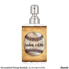 Customizable Vintage Baseball Bathroom Decorating Ideas. Soap Dispenser CLICK: http://www.zazzle.com/personalized_vintage_baseball_bathroom_accessories_soap_dispenser-256318101031457884?rf=238012603407381242 See other matching and coordinating vintage baseball bathroom accessories and decorating ideas HERE: http://www.Zazzle.com/YourSportsGifts and our website HERE: http://YourSportsGifts.com