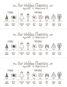 Wedding Timeline Printable Digital File Schedule  Stationary
