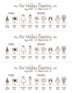Printable Wedding Timeline -- Wedding Schedule -- Pomp Designs. $24,99, via Etsy.