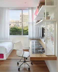 Home Decoration Design Ideas Small Apartment Bedrooms, Small Apartments, Small Spaces, Dark Interiors, Hotel Interiors, Home Hacks, Home Office, Bedroom Decor, House Design