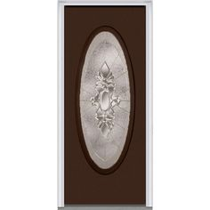 Milliken Millwork 33.5 in. x 81.75 in. Heirloom Master Decorative Glass Full Oval Lite Painted Majestic Steel Exterior Door, Polished Mahogany