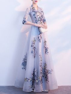 Buy Floral Dresses Maxi Dresses For Women from Fantasyou at Stylewe. Online Shopping Stylewe Formal Dresses Floral Dresses Wedding A-Line V Neck Half Sleeve Mesh Elegant Dresses, The Best Evening Maxi Dresses. Discover unique designers fashion at stylewe. Best Formal Dresses, Short Beach Dresses, Formal Evening Dresses, Elegant Dresses, Pretty Dresses, Dress Formal, Cheap Prom Dresses Online, Floral Maxi Dress, Maxi Dresses