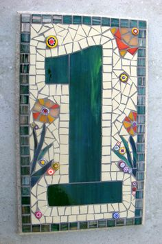 Custom Mosaic House Number Sign Plaque Street by FunkyMosaicsUK