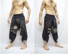 Japanischen Stil in Samurai-Hose in schwarz, Hose, Baggy Hosen, Yoga-100 % Cotton(Unisex) One Size Fit All...Neu