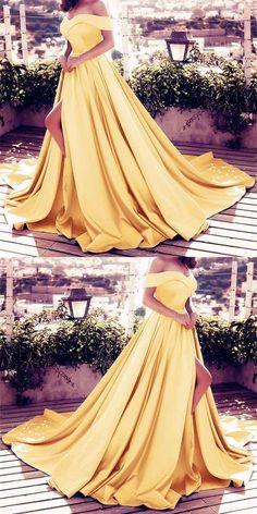 Elegant V-neck Off The Shoulder Long Gold Satin Front Slit Prom Dresses 2018 Women's Evening Gowns Pastel Prom Dress, Gold Prom Dresses, Prom Dresses 2018, Ball Gowns Prom, Plus Size Prom Dresses, Cheap Prom Dresses, Graduation Dresses, Quinceanera Dresses, Yellow Ballgown