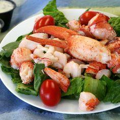 Lobster & Shrimp Salad Served with Steak With Rosé Champagne, Divine