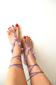 Purple ribbon flower  Beach wedding barefoot by ArtofAccessory, $20.00
