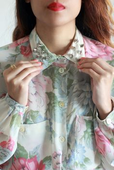 Studded floral button-down