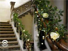 Bannister decoration - similar idea for yours but it won't be as heavy as this and no roses
