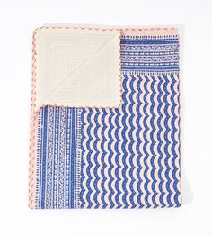 Blue on Pink Hand Block in Queen by gypsya on Etsy