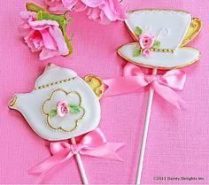 English Rose Tea pot and Tea cup Cookie Favors