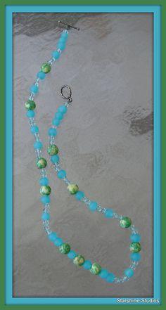 "16"" beaded necklace. Rainbow jasper, aqua Swarovski crystals & blue frosted glass."