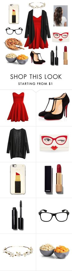 """""""Me dressing up for no reason and being lazy"""" by aribear12 ❤ liked on Polyvore featuring Christian Louboutin, Kate Spade, Chanel, Bobbi Brown Cosmetics, Cult Gaia and ThinkGeek"""