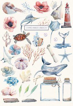 Watercolor Sea, Watercolor Images, Sea Illustration, Nautical Wedding Invitations, Watercolor Succulents, Nautical Design, Beautiful Artwork, Underwater, Clip Art