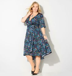 Go for dresses with 70s inspired prints like our plus size Floral Paisley Hi Lo…