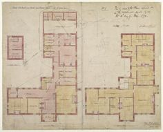 Philip Webb's designs for the Arts and Crafts style Red House highlight his quietly revolutionary approach to the design of domestic space Plan Drawing, Drawing Studies, Edward Burne Jones, Flower Names, The V&a, Arts And Crafts Movement, William Morris, Line Design, Stock Photos