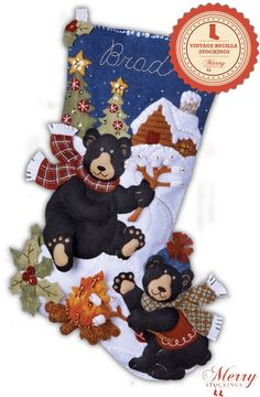 Black Bear Bonfire Bucilla Felt Applique Christmas Stocking Kit