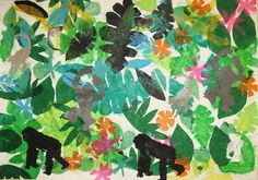 tissue paper jungle collage, combined with zoo trip