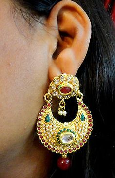 Majestic green and red stone Gold Tone ethnic earrings
