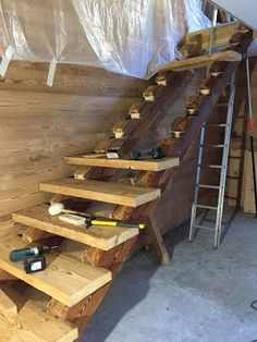 Old staircase with large beams Artisan Carpenter Bois Savoie Rustic Staircase, Wooden Staircases, Wooden Stairs, Staircase Design, Rustic Deck, Rustic Cabin Decor, Stair Layout, Stairs And Doors, House Front Porch
