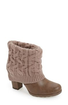 Free shipping and returns on MUK LUKS 'Chris' Knit Cuff Bootie (Women) at Nordstrom.com. A sweater-knit fold-over cuff styles a faux-leather bootie set on a trend-right chunky heel and lugged sole.