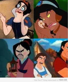 Snow White // Jasmine // Mulan // Belle // With The Face Of The Villains
