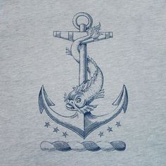 Anchor T-Shirt  Nautical Dolphin Vintage Tattoo Men's / Unisex & Ladies Tee. $22.00, via Etsy.