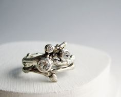 Engagement Ring Set, Diamond and White Sapphires, 3 Stones Silver Twig Ring