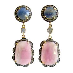 795 Pink Denim Blue Sapphire Slices Diamond Earrings - Ivy Earrings | 1stdibs.com