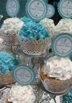Tiffany Themed Wedding - Candy and Dessert Buffet,60ct White Wedding Cupcake Sleeves Baking Wrap Cupcake Wrappers Decoration W003W