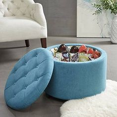 Madison Park Sasha Round Ottoman w/ Shoe Holder Insert in Teal - Olliix room needs additional storage and seating options like this round tufted ottoman that also offers a designer shoe storage Features: Modern/Contempora Round Tufted Ottoman, Round Storage Ottoman, Ottoman Footstool, Tufted Storage Ottoman, Shoe Storage Inserts, Lemon Storage, Living Room Furniture, Home Furniture, Shoe Holders