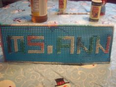 plastic canvas name sign