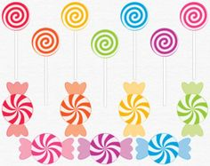 Digital Candy Clip Art, Lollipop Clipart, Illustrated Candy Graphics, Kids Birthday Party Illustrations, Rainbow Swirls, Sweets