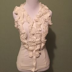 🌸Sale🌸The Limited Blouse Cream blouse w/Ruffles & buttons down the middle,elastic on back.This top is see through.100% nylon.Size XS.Perfect condition.❌❌no trades❌❌ The Limited Tops Blouses