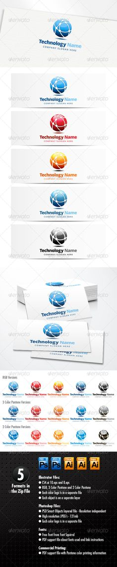 Technology Logo  #GraphicRiver         Technology Network Logo   A modern logo template suitable for internet, technology, communication, companies and software development businesses amongest others.  Four Color Variations and Black  Easy to edit with organized layers  Free Fonts from Font Squirrel  Zip Pack Contains: ILLUSTRATOR VECTOR FILES   CS4.ai 10.eps and 8.eps –