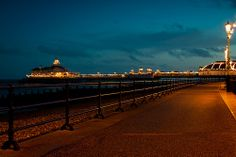 Eastbourne pier at night.